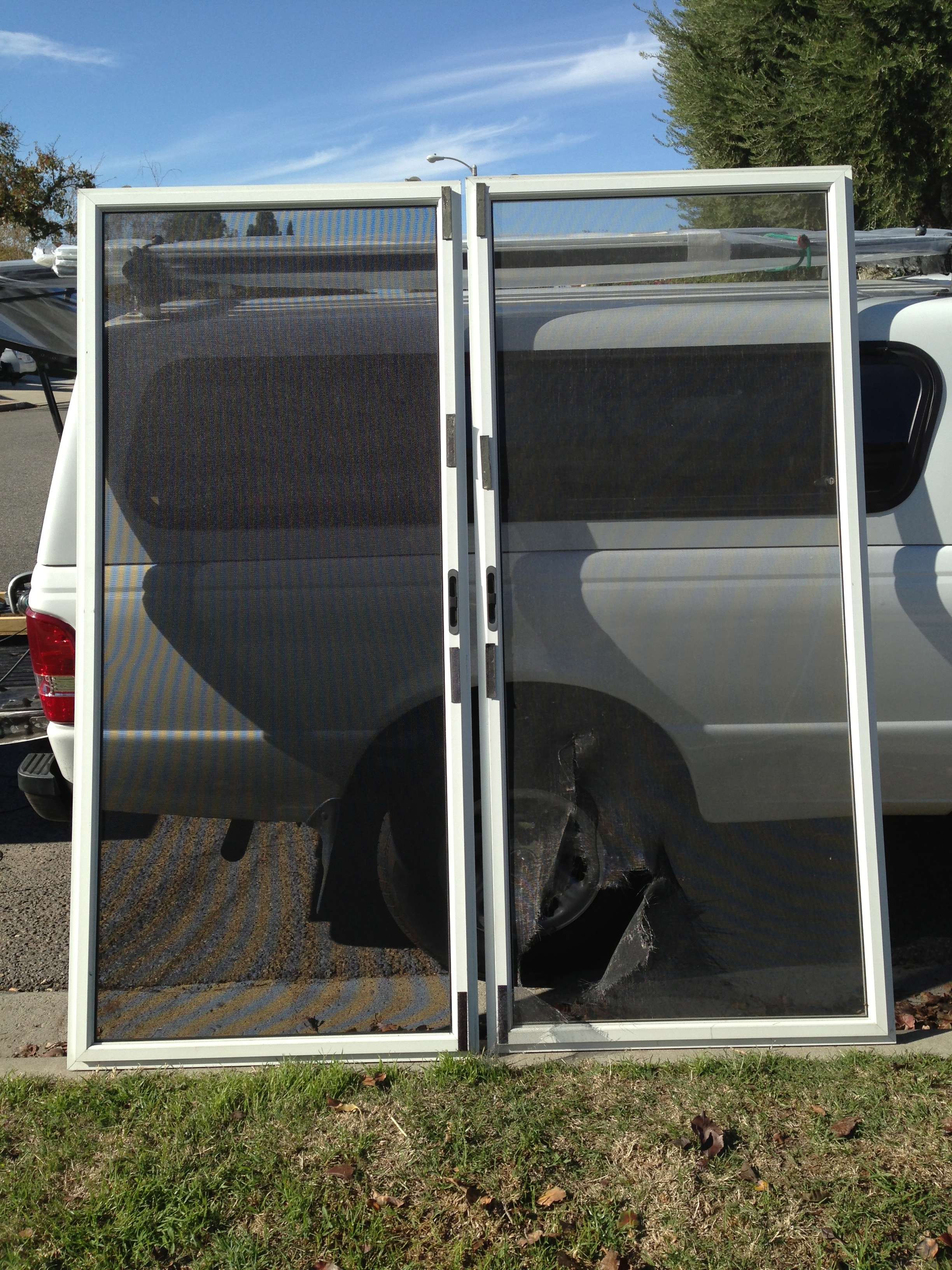 Simi valley screen doors rescreened with new heavy duty for Double sliding screen door